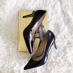 ZARA black pointed leather heels NWT